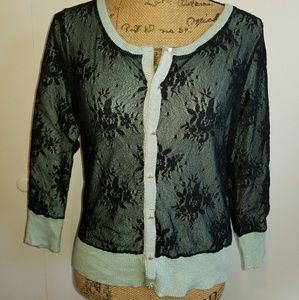 Nine West mint & black lace cardigan sweater